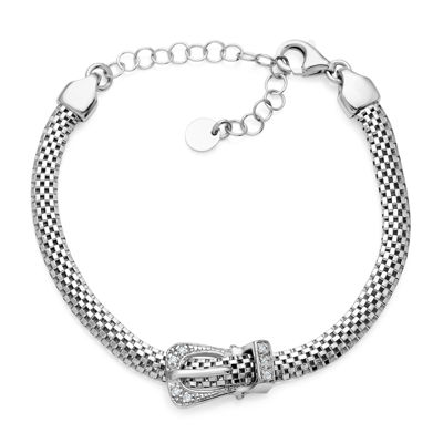 Made in Italy Sterling Silver Crystal Buckle Bracelet