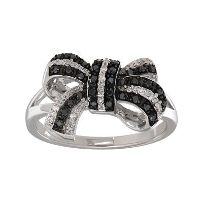 1/5 CT. T.W. Color-Enhanced Black Diamond and White Diamond-Accent Sterling Silver Bow Ring