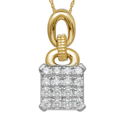1/4 CT. T.W. Diamond Sterling Silver with 14K Yellow Gold Accent Pendant