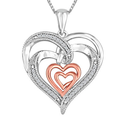 ForeverMine® 1/10 CT. T.W. Diamond Double Heart Pendant Necklace