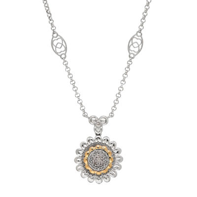 1/10 CT. T.W. Diamond Sterling Silver with 14K Yellow Gold Accent Pendant Necklace