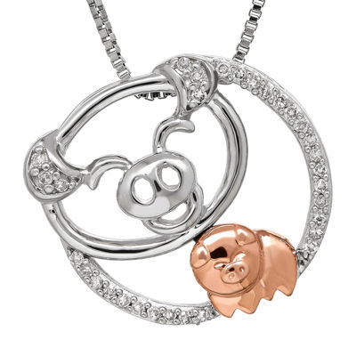 1/10 CT. T.W. Diamond Sterling Silver with 10K Rose Gold Pig Pendant Necklace
