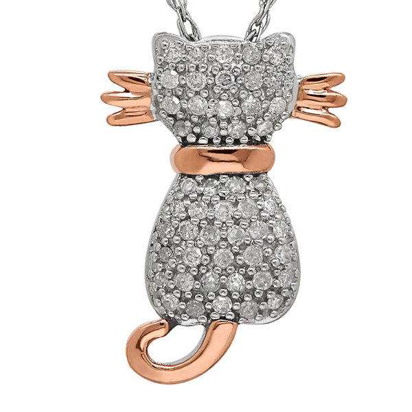 1/5 CT. T.W. Diamond Sterling Silver with 14K Rose Gold Cat Pendant Necklace