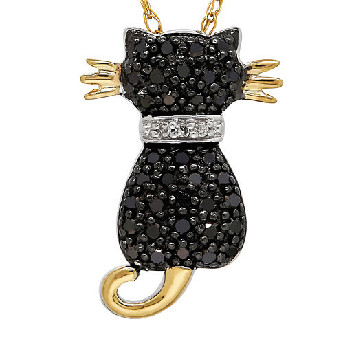 1/5 CT. T.W. White and Color-Enhanced Black Diamond Cat Pendant Necklace