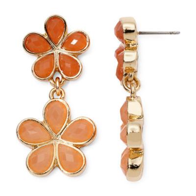 Liz Claiborne® Orange Stone Gold-Tone Flower Double-Drop Earrings