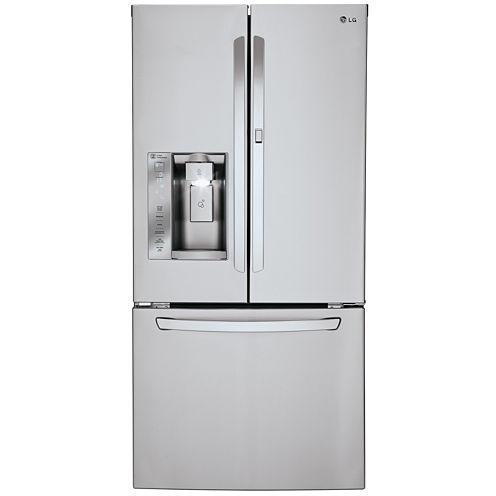 """LG ENERGY STAR® 24.4 cu. ft. 33"""" Wide Ultra-3-Door French Door Refrigerator Ice & Water Dispenser and Door-in-Door Design"""
