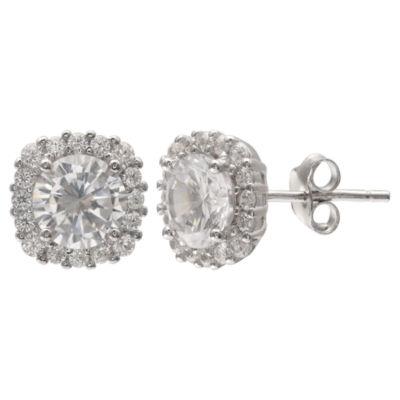 Silver Treasures Clear 10mm Stud Earrings