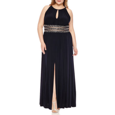 R & M Richards Sleeveless Beaded Evening Gown-Plus