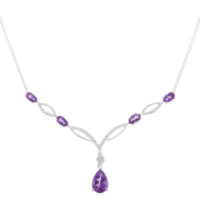 Womens Genuine Purple Amethyst Sterling Silver Statement Necklace