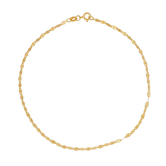 Made in Italy 14K Gold 10 Inch Solid Link Ankle Bracelet