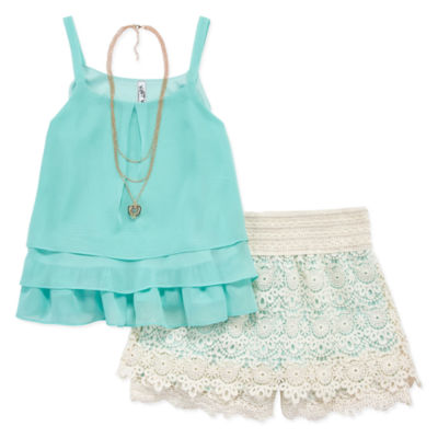 Knit Works Tank Top Crochet Short Set with Necklace- Girls' 7-16 & Plus