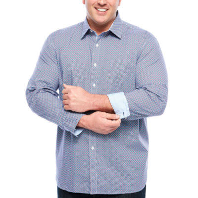 Society Of Threads Small Print Button-Front Shirt-Big and Tall