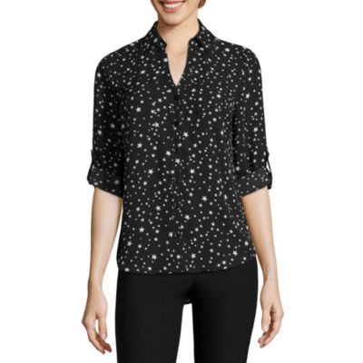 by&by Long Sleeve Star Blouse-Juniors