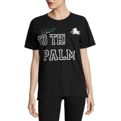 "Flirtitude ""Talk to the Palm"" Graphic T-Shirt- Juniors"