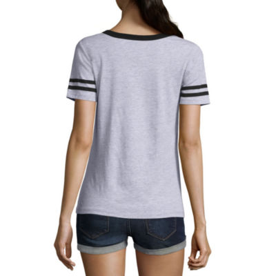 Short Sleeve V Neck Peanuts Graphic T-Shirt