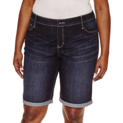 """St. John's Bay Denim Bermuda Shorts-Plus (13"""")"""