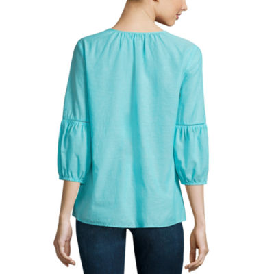 St. John's Bay Embroidered Tassel Blouse