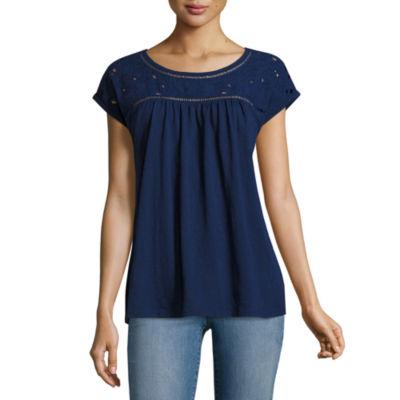 St. John's Bay-Womens Crew Neck Short Sleeve T-Shirt Petite