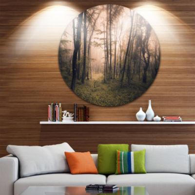 Designart Dark Old Spring Forest Landscape Photography Circle Metal Wall Art