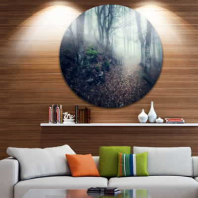 Designart Old Style Path in Forest Landscape Photography Circle Metal Wall Art