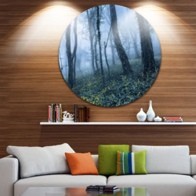 Designart Trees in Foggy Spring Forest Landscape Photography Circle Metal Wall Art