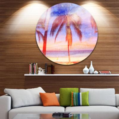 Designart Retro Palms Light Blue Watercolor TreesPainting Circle Metal Wall Art