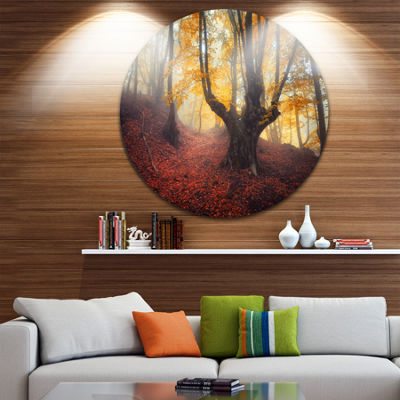 Designart Dark Old Yellow Forest Landscape Photography Circle Metal Wall Art