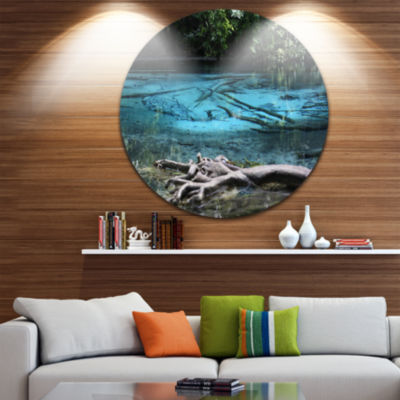 Designart Blue Pond in Deep Forest Landscape Photography Circle Metal Wall Art