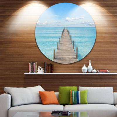 Designart Pier Infinite to the Sea Seascape CircleMetal Wall Art