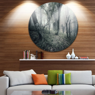Designart Vintage Forest Filled with Fog LandscapePhotography Circle Metal Wall Art
