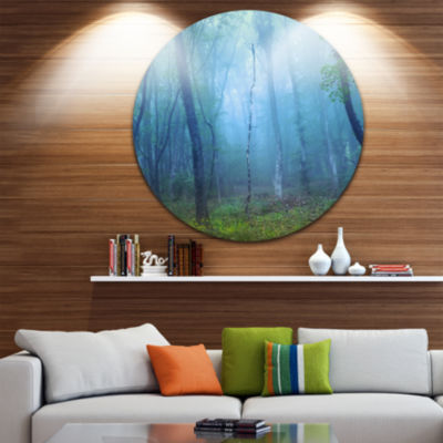 Designart Dark Foggy Forest Trees Landscape Photography Circle Metal Wall Art