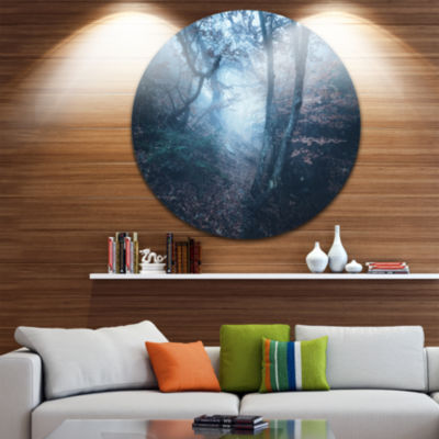 Designart Beautiful Autumn in Forest Landscape Photography Circle Metal Wall Art