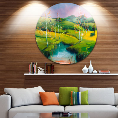 Designart Endless Green Pastures Landscape Painting Circle Metal Wall Art