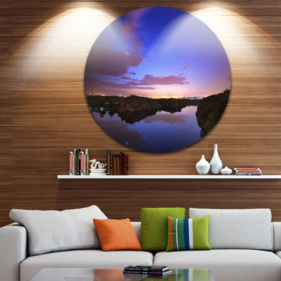 Designart Stars and Clouds Reflection Landscape Photography Circle Metal Wall Art