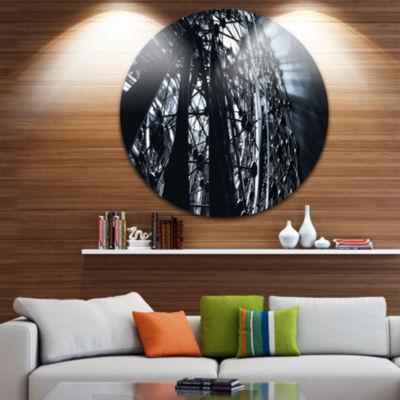 Designart 3D Abstract Art Black Atomic Abstract Circle Metal Wall Art