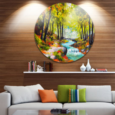 Designart River in Green Autumn Forest Landscape Painting Circle Metal Wall Art
