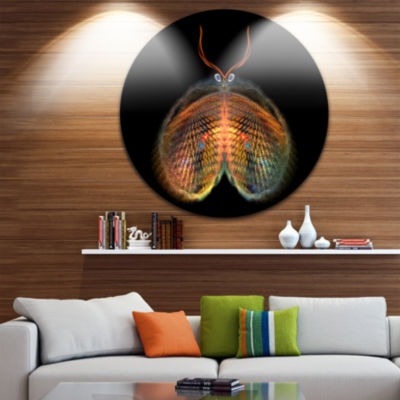 Designart Yellow Red Fractal Butterfly in Dark Abstract Circle Metal Wall Art