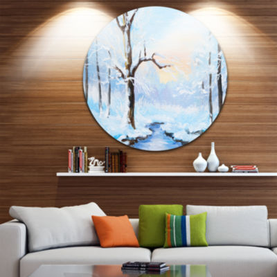 Designart White Frozen River in Forest Landscape Painting Circle Metal Wall Art