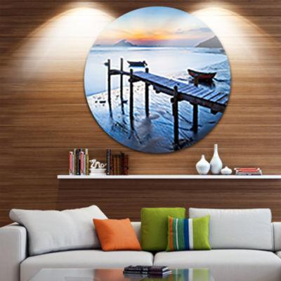 Designart Old Wooden Pier in Bright Sea Seascape Circle Metal Wall Art