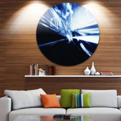 Designart 3D Abstract Art Blue Black Abstract Circle Metal Wall Art