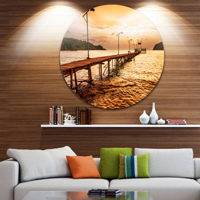 Designart Sunset Over Brown Sea Seascape Circle Metal Wall Art
