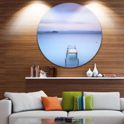 Designart Bright Purple Sky Seascape Circle MetalWall Art