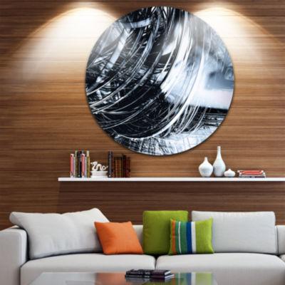Designart 3D Abstract Art Black Spiral Abstract Circle Metal Wall Art