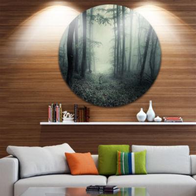 Designart Trail Through Dark Forest Landscape Photo Circle Metal Wall Art