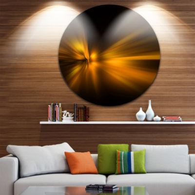 Designart Gold Light Over Dark Pattern Abstract Circle Metal Wall Art