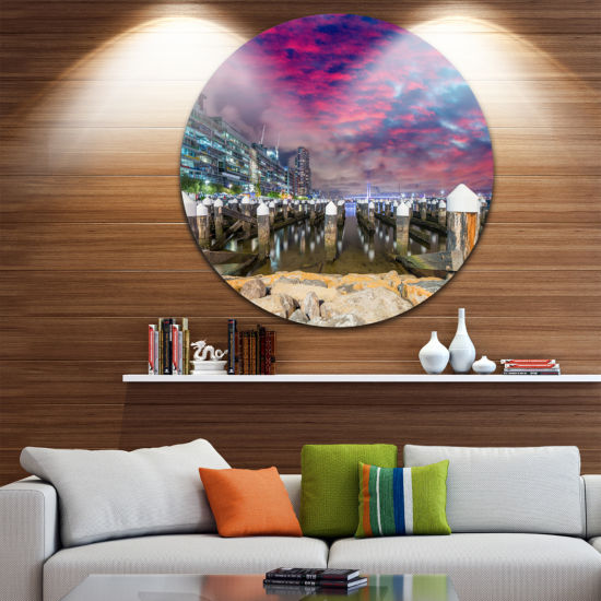 Designart Pier at Melbourne Harbor Seascape Photography Circle Metal Wall Art