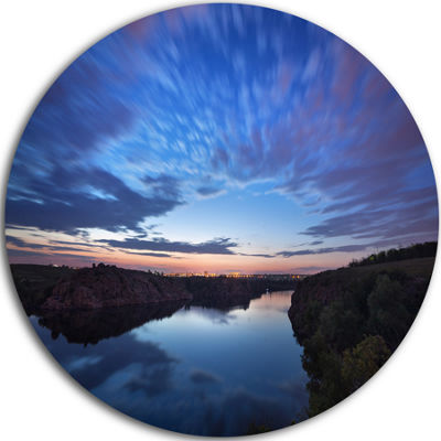 Designart Clouds Reflection in River Landscape Photography Circle Metal Wall Art