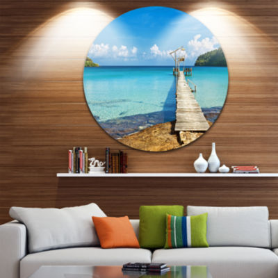 Designart Old Wooden Pier in Sea Seascape Circle Metal Wall Art