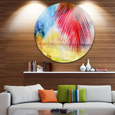 Designart Retro Palm Leaf Watercolor Trees Painting Circle Metal Wall Art
