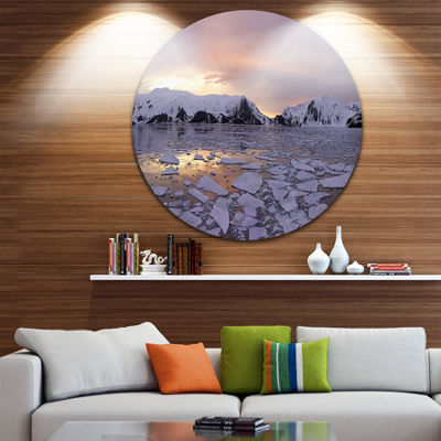 Designart Antarctic Summer Sunset Seascape CircleMetal Wall Art